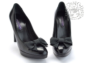 Size 9.5 Ralph Lauren Collection Black Leather Platform Heels