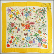 Gucci Vintage V. Accornero Yellow/Multi Flora Silk Chiffon Scarf
