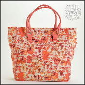 Bottega Veneta Coral Canvas and Leather Tote Bag