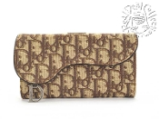 Christian Dior Brown Monogram Gaucho D-Logo Charm Long Wallet