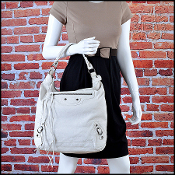Balenciaga White Goatskin Leather Day Hobo Bag