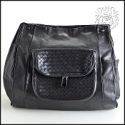 Bottega Veneta Black Leather Large Runway Messenger Bag