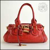 Chloe Red Leather Paddington Shoulder Bag