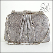 Judith Leiber Silver Ring Lizard Frame Evening Bag
