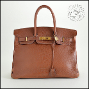 Hermes Noisette Brown Ardennes Leather Birkin 35cm Handbag