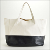 Celine Black and White Bi-Color Leather Horizontal Cabas Tote