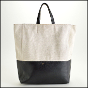 Celine Canvas and Black Leather Vertical Cabas Tote Bag