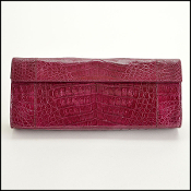 Nancy Gonzalez Plum Crocodile Clutch