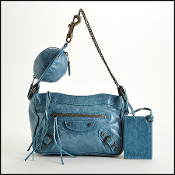 Balenciaga Teal Blue Leather Planet Shoulder