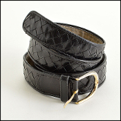 Bottega Veneta Black Woven Leather Belt
