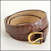 Bottega Veneta Brown Woven Leather Belt