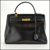 Hermes Vintage Black Chamonix Leather Kelly 32cm Handbag