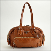Prada Brown Washed Leather Handbag