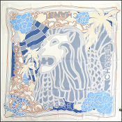 Chanel White & Blue Lion Head Silk Chiffon 90cm Scarf