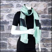 Chanel Mint & Black CC Silk Jacquard Stole 70x180 Long Scarf