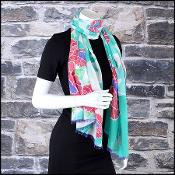 Chanel Green Floral 70/180cm Long Scarf
