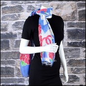 Chanel Blue Floral 70/180cm Long Scarf