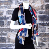 Chanel Navy/White/Multicolor Watercolor Floral 140x140 GM Shawl