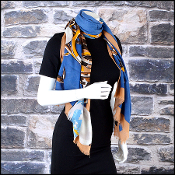 Chanel Blue & Tan Cashmere CC Bauble Jewelry 70x180 Long Scarf