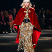 Size 36 Saint Laurent Red Velvet and Gold Sequin Hooded Cape