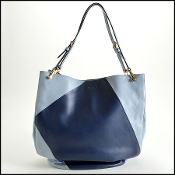 Tod's Light Blue & Navy Horse Medium Bucket Bag