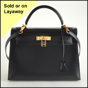 Hermes Black Box Leather 32cm Sellier Kelly