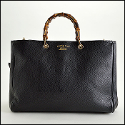 Gucci Black Peppled Leather Borsa Bamboo Shopper Tote