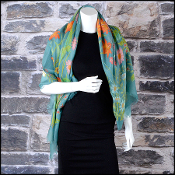 Gucci Teal/Multi Nuovoflora Floral Silk/Wool Shawl Large Scarf