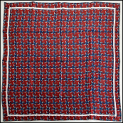 Chanel Red/White/Blue Houndstooth Tweed 90cm Silk Twill Scarf