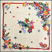 Chanel Cream and Red Wildflowers 90cm Silk Twill Scarf