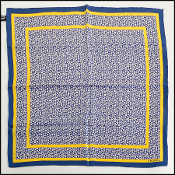 Chanel Blue/Yellow Little Flowers & CC  57cm Silk/Twill Bandana
