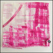 Chanel Magenta/Cream Giant Scribble CC Logo Cotton Pereo Sarong