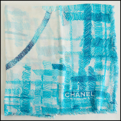 Chanel Tri Color Blue Giant Scribble CC Logo Cotton Pereo Sarong