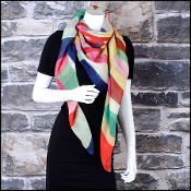 Chanel Multicolor Blocks and CC Logo Shawl