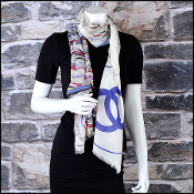 Chanel Cream & Blue Air Traffic Giant CC Logo Long Scarf