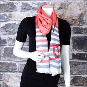 Chanel White, Blue & Red Stamp CC Logo Long Scarf