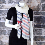 Chanel Blue & Ivory with Red Stripes Stamp Logo Long Scarf