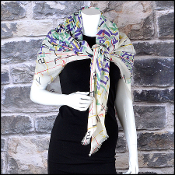 Chanel Cream/Green & Plum Multicolor Brushstrokes Shawl