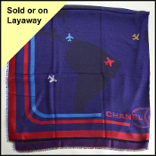 Chanel Cobalt & Red Flying Around the World Shawl