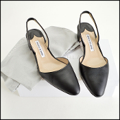 Manolo Blahnik Black leather M/Aspro Pointed Slingback Flats