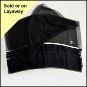 Chanel Black Pleated with White Ribbon and CC Logo Detail Scarf