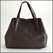 Bottega Veneta Ebene Napa Leather Intrecciato Woven Large Tote