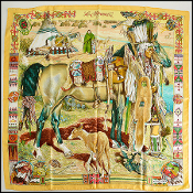 Hermes Yellow Les Cheyennes 90cm Silk Scarf by Kermit Oliver