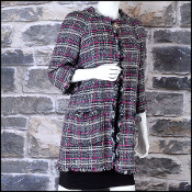 Chanel Black/White/Hot Pink Tweed 3/4 Length Swing Coat