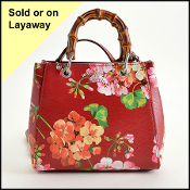 Gucci Red Leather Floral Bamboo Blooms Mini Crossbody Bag