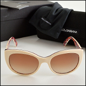 Dolce and Gabbana Cream and Floral Sunglasses