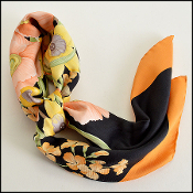 Salvatore Ferragamo Orange Floral Scarf