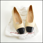 Ferragamo Beige/Black Cap Toe Low Heels