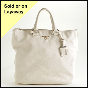 Prada White Vitello Daino Pebbled Leather Tote Bag