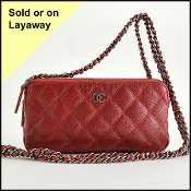 Chanel Rouge Caviar Leather Small Clutch With Crossbody Strap